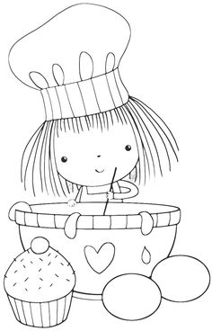 Coloring Pages - Chef Colouring Pages, Adult Coloring Pages, Coloring Books, Cross Stitch Embroidery, Embroidery Patterns, Hand Embroidery, Machine Embroidery, 365 Kawaii, Penny Black