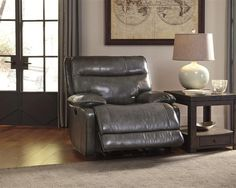 Palladum Contemporary Leather Pillow Top Arms Rocker Recliner