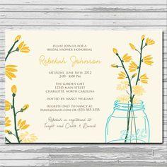 Mason Jar Pastel Flower Bridal Shower Invitation - customized 5x7 printable - rustic flower print bridal shower invites