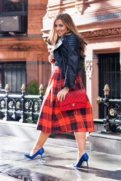 Black leather jacket, red plaid skirt, and blue high heels. A preppy look with a bit of edge. More details on The Cashmere Gypsy.
