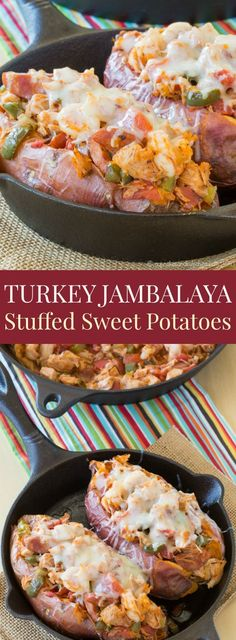 Jambalaya Stuffed Baked Sweet Potatoes - an easy and healthy twist on the classic Cajun recipe made with Thanksgiving leftovers. Gluten free and paleo option.