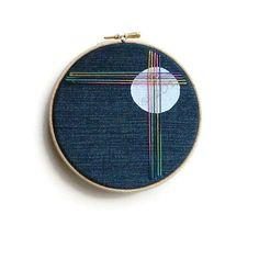 Embroidery Hoop Art, Modern, Abstract, Moon, Rainbow, Wall Hanging