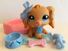 Littlest Pet Shop RARE! Tan Cocker Spaniel #1716 w/Dog Bed & Accessories #Hasbro