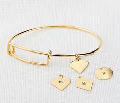 Charm bangle bracelet Adjustable bracelet Initial by HLcollection