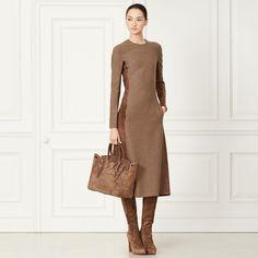 Wollkleid Adley mit Wildleder - Kleider & Röcke Herbst 2015 Bekleidung - Ralph Lauren Deutschland