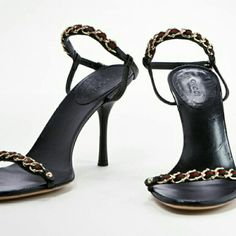 AUTHENTIC Gucci sandals Black leather sandals with open toe.  Gild chain embellishment with green and red ribbon. Adjustable ankle strap.  Includes box and dust bag. Heel is 4in. Gucci Shoes Sandals