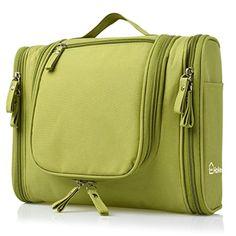 86df140bb1b1 Heavy Duty Waterproof Hanging Toiletry Bag - Travel Cosmetic Makeup Bag for  Women   Shaving Kit Organizer Bag for Men - Large Size  x x Inch (Green)