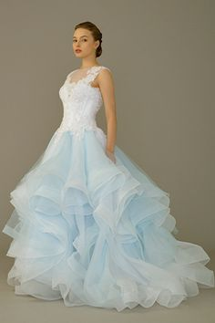 Pastel blue coloured wedding gown with lace bodice and layered tulle skirts by WhiteLink View the Spring/Summer 2015 Wedding Gown Lookbook by SingaporeBrides