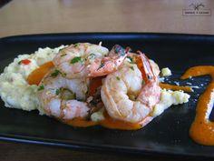 SHRIMP + GRITS jumbo prawns, creamy polenta w/ piquillo pepper sauce
