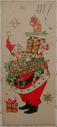 This is so reminiscent of Christmas when I was little. It makes me happy! Antique Christmas, 1950s Christmas, Vintage Christmas Images, Old Christmas, Father Christmas, Old Fashioned Christmas, Vintage Holiday, Christmas Scenes, Christmas Holidays