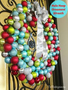 oversized ornament wreath made with hula hoop