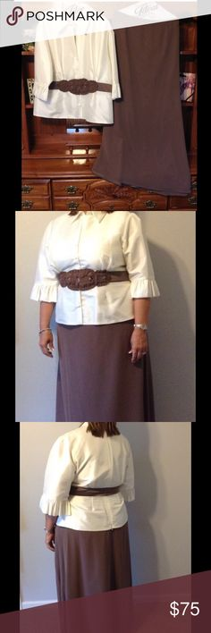 Formal skirt/Top Great condition, worn once. The top has a back zipper, built-in decorative beaded belt, 3/4 length sleeves with ruffles at the end. The skirt is floor length, fully lined, mocha colored. 100% polyester. Alfred Angelo Dresses