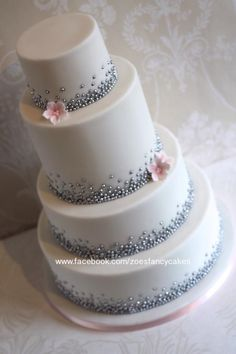 Silver pearl wedding cake - Cake by Zoe's Fancy Cakes