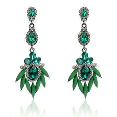 Crystal Fashion Earrings Beautiful long crystal earrings with different shades of green. Accessories