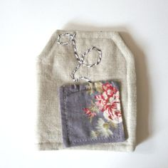 Tea Bag Wallet in Tea Bag Shape Linen Roses Print by andreacreates