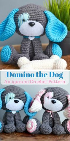This cute dog crochet pattern is the perfect amigurumi project for dog lovers. I can't wait to start making this adorable dog in blue and pink. #amigurumi #ad #dog #crochetpattern
