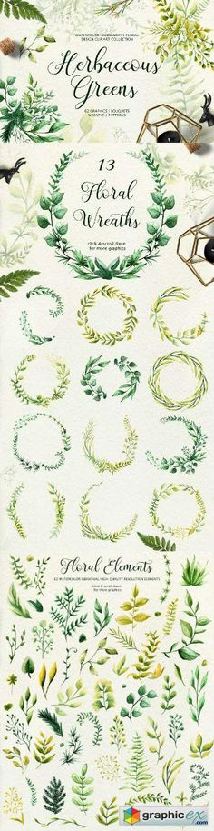 Herbaceous Greens-watercolor set  stock images