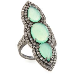 Bavna Chrysoprase & Diamond Cocktail Ring ($1,125) ❤ liked on Polyvore featuring jewelry, rings, cocktail rings, diamond rings, round ring, chrysoprase ring and diamond jewellery