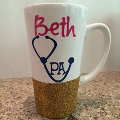 Physician Assistant PA Glitter Coffee Cup//Coffee