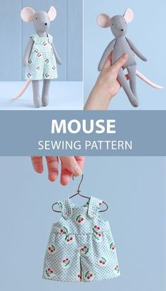 Mouse doll with sewing pattern - DIY soft toy, animal doll Mauspuppe mit Schnittmuster – DIY Stofftier, Tierpuppe … – UPCYCLING IDEEN Mouse doll with sewing pattern – DIY soft toy, animal doll …, - Animal Sewing Patterns, Sewing Patterns Free, Pattern Sewing, Doll Dress Patterns, Pretty Toys Patterns, Fabric Doll Pattern, Skirt Patterns, Coat Patterns, Pattern Drafting