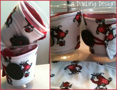 """NC State coffee cozies. For Sale $4.50 each       http://sewingthelostart.blogspot.com/2012/07/more-cozies.html        http://adarlingdesign.storenvy.com/products/455713-coffee-cozie    please do not remove """"a darling design"""" or repost as your own"""