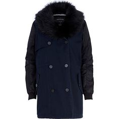 Navy faux fur collar parka trench coat #riverisland