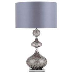 Endon HAMLET-TLSMK Polished Chrome Base & Smoked Glass Table Lamp with Dark Grey Faux Silk Shade (Endon Lighting HAMLET-TLSMK) - discounthomelighting Lighting Uk, Glass Table, Polished Chrome, Dark Grey, Table Lamp, Shades, Indoor, Base, Flooring
