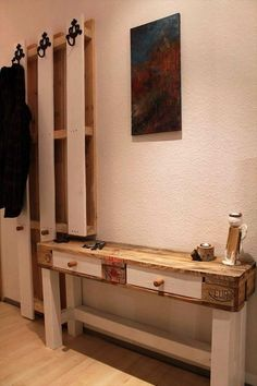 pallet hallway console and coat hooks