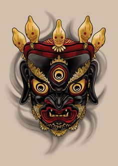 #tibetan #mask #drawing #art #tattoo #design