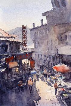 """Local market in Lushan, China 1"" (watercolor, 31x46 cm)"
