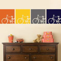 Vintage Bicycle Wall Decal Choose your colors 4 10 Square Panels