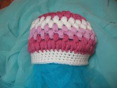 Crochet Baby Hat - white and pink - 0-3 months  - FREE SHIPPING - 100% pure merino wool - handmade in Ireland by Amanda Jane