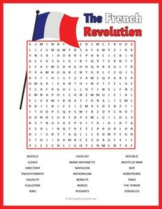 This word search worksheet would make a good activity or game for kids to reinforce vocabulary and ideas while studying a unit on the history of the French Revolution. Printable Activities For Kids, Worksheets For Kids, French Worksheets, Printable Puzzles, Printables, Spelling Help, World History Classroom, Hidden Words, French History