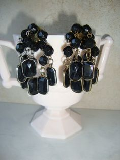 Vintage Black Dangle Cha Cha Pierced by WintervilleWonders on Etsy