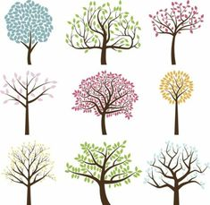 Vector Collection of Tree Silhouettes. No transparencies or gradients… Vector Collection of Tree Silhouettes royalty-free stock vector art Heart Tree, Tree Logos, Tree Silhouette, Silhouette Vector, Flower Doodles, Tree Art, A Tree, Doodle Art, Doodle Trees