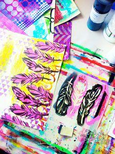 """Balzer Designs """"4 Feathers"""" stencil"""