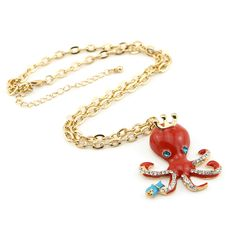 Red Shining Octopus Drop Pendant Long Golden Chain Necklace For Women Only at: $7.99 & FREE Shipping Worldwide