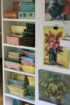 Watercolors and vintage pottery planters