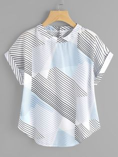 Shop Abstract Striped Curved Hem Cuffed Blouse online. SheIn offers Abstract Striped Curved Hem Cuffed Blouse & more to fit your fashionable needs.