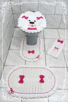 Rose Ragazzon Crochê: Jogo de Banheiro Poodle Menina