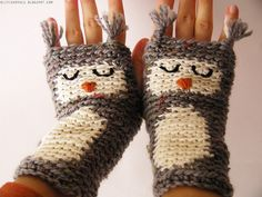 Sleepy Owl Fingerless Gloves--crochet. (not a pattern, just the picture, but how adorable!)