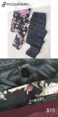 Express legging bundle Both size small, worn and washed a few times. Some slight fading in the black. Black and gray Aztec pattern, and black and pink flower pattern. Express Pants Leggings