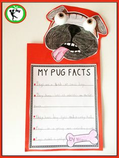 A fun Pug Facts Writing Craft for Kindergarten and First Grade Students- included in this fun unit full of engaging literacy activities to use when reading aloud the story Pig the Pug by Aaron Blabey. All activities are aligned with common core standards. Pig the Pug is a witty morality tale about the pitfalls of being greedy and selfish; it's a clever book that always has everyone laughing out loud!