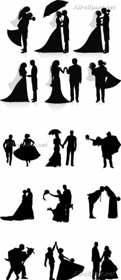 Влюбленные и свадебные пары - силуэты в векторе | Silhouettes vector