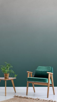 When paired with contemporary furnishings, the Forest Green Ombre Wall does an excellent job of hanging back and blending in. This mural looks inviting as a rich backdrop for your office space, kitchen, hallway, or dining room. #wallpaper #murals #wallmurals #interior #interiordesign #design #home #homedecor #interiordecor #accentwall #inspiration #Ihavethisthingswithwalls