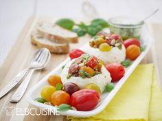 ELBCUISINE Mozzarella mal anders – köstlich gefüllt mit farbigen Tomaten und grünem Pesto