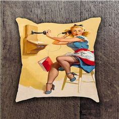 GIL ELVGREN PIN UP CALL BATHROOM PILLOWS