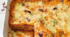Add some colourful vegies to your potato bake and try this sweet potato bake for a healthier side dish. Vegetable Pie, Vegetable Dishes, Veggie Lasagna, Vegetable Recipes, Vegetarian Recipes, Cooking Recipes, Healthy Recipes, Savoury Slice, Savoury Pies