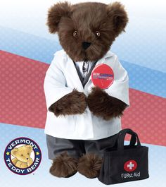 Carson Bear | Ready for operation presidential campaign, he arrives wearing not only a gray suit and matching satin tie, but a lab coat. Finished with a Carson campaign pin, he's ready to heal, inspire and revive. Handmade in Vermont, USA using the softest fur we can get our hands on and 100% recycled stuffing. Guaranteed for life.