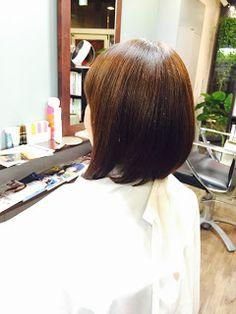 「前下がりボブ+カラー 」少しの白髪や癖毛などで、ヘアスタイル、デザインを諦めたくない! 大人女性の為の美容室。髪の悩みを聞き、技術提案する、大阪、堀江のマンツーマン美容室「ポリッシュ.カスタムヘア」06-6532-6635:
